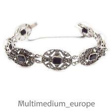Sterling Argent Bracelet Onyx markasiten ART DECO silver bracelet Marcasites 925