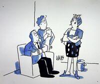 [ Humor - Presse ] Guy Valls - Dame Haushalt,Pflege - Zeichnung Original