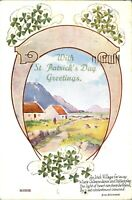 With St Patricks Day Greetings card postcard colour printed lucky clover antique