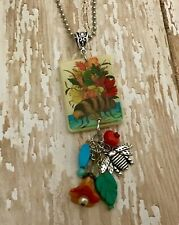 Summer Pendant Handcrafted Jewelry Gift Bee Flowers Necklace Colorful Spring