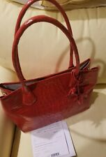 Authentic Brahmin Anytime Sweetheart Tote  Party Red Genuine Leather Bag NEW