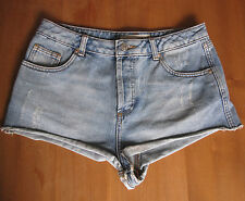 "Moto Topshop Denim Hotpants Shorts Bleached Light Distressed Vintage Look 30"""