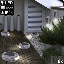 6x LED SOLAR Außen Bereich Stein Deko Leuchten Grundstück Garten Deko Lampen