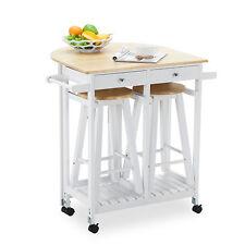 Kitchen Island Rolling Trolley Cart Storage Dinning Table Stools Set Oak Wood