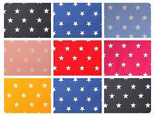 "White Stars on Coloured 100% Cotton Poplin Fabric 44"" (112cm) 20mm Stars"