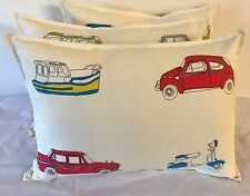 1 CUSHION COVER IN HARLEQUIN GO GO RETRO RED/SKY BLUE, CARS, BIKES & BOATS !