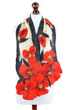 Red poppy scarf for women, exclusive, luxury & eye-catching scarf, merino & silk