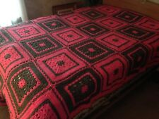 Vintage Large Crocheted Pink & Grey Granny Square Afghan Blanket Throw EXCELLENT