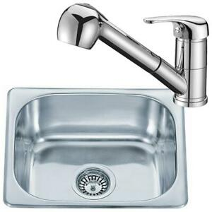 Small Stainless Steel Inset Kitchen Sink Bowl & Pull Out Spout Taps Set (KST093)
