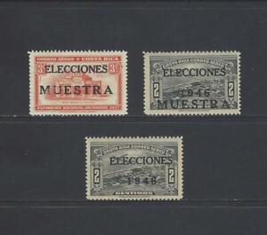 COSTA RICA NATL EXPOSITION OVERPRINT ELECCIONES 1946 MUESTRA,MPR12a-12b,PR12 MLH