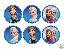"6x Disney FROZEN ANNA & ELSA 2.5"" edible disc toppers, great for tiered cakes"