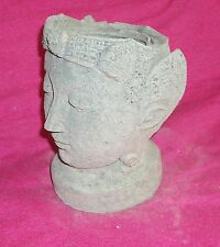 Vintage Weathered Buddha Head/ Face Pot Planter / Garden Statue/ Decor