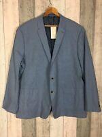 Black Label by JD Williams Men's Blue 100% Cotton Suit Jacket Size UK 3XL