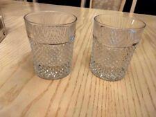 Vintage Bohemia Crystal Set of 2 Tumbler Whiskey Glasses Czechoslovakia
