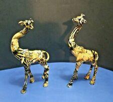 """Lot of 2 La Vie Giraffe Figurine Glazed Animal Print Ceramic Figure 9 1/2"""""""