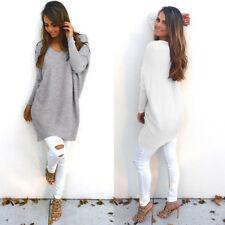 Damen V-Ausschnitt Pullover Sweatshirt Tunika Longshirt Jumper Langarm Mode