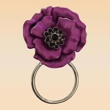 NEW Purple & Black Crystal Poppy Eye Glasses Holder Brooch