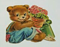 Vtg Greeting Card Gardener Blue Jean Overalls Brown Bear Fathers Hallmark 1950s