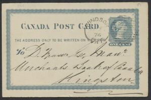 1876 #P1 1c Victoria PSC, Merchants Bank Notice, Windsor Ont Duplex