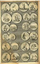 """Medals of K. William and Q. Mary"" from Rapin's HISTORY OF ENGLAND  Pl. I - 1745"