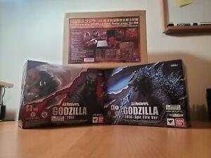 UNIQUE LOT OF 3 Bandai S.H. Monsterarts - 2014 Godzilla (Reg./Spitfire/Poster)!