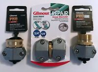 "3 PC LOT GILMOUR SOLID METAL HOSE MENDER REPAIR MALE FEMALE 5/8"" & 3/4"" 01HMZL"