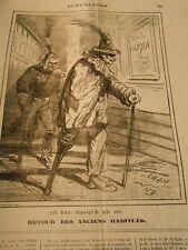 Caricature 1871 - Le Bal masqué retour des anciens habitués Strauss