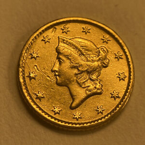 1853 Liberty Head $1 One Dollar United States Gold Coin - Rare - Great Detail