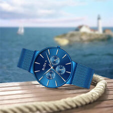 BIDEN Luxury Blue Quartz Wrist Watch Mesh Stainless Steel Band Men Watches