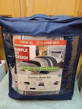 NIP Simple By Design Kohls Blue STRIPE Twin XL 8pc Comforter Dorm Set