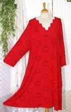 KARIN HERTZ langes Shirt Kleid Maxikleid Gr.  48 50 52 54 56 rot schwarze Kreise