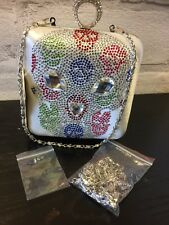 IVORY DIAMANTE KNUCKLE RINGS AND SKULLS EVENING/CLUTCH BAG PARTY WEDDING BNWT