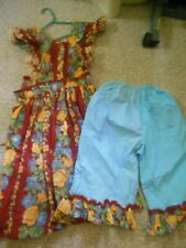 Little House on the Prairie Boho Maxi Floral Dress Costume with Bloomers