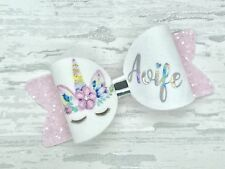 Small Unicorn Personalised Hair Bow, Girls Glitter Bow Clips, Any Name Headband