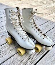 VTG Womens White Roller Derby Roller Skates Size 8 Yellow Wheels Vintage
