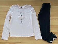 JANIE AND JACK Pink Ballerina Tee & Leggings Set Outfit Size 12