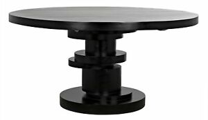 "60"" W Charles Stacked Round Dining Table Hand Rubbed Black Mahogany Finish"