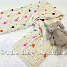 CHARLIE KIDS GIRLS POM-POM COZY SOFT THROW WRAP BABY BLANKET 76x100cm **NEW**