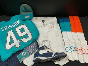 #49 GRISSOM MIAMI DOLPHINS GAME USED NIKE FOOTBALL PANTS CLEAT SOCKS BAG BEANIE