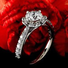 1.56 CT ROUND BRILLIANT CUT DIAMOND HALO ENGAGEMENT RING 14K WHITE GOLD