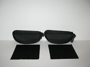 SUNGLASSES BLACK SOFT ZIP CASE (2 CASES & 2 CLOTH) FITS PRADA RAYBAN OAKLEY NIKE