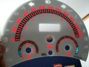 98-04 METRIC IN KILOMETERS KPH VW BEETLE BUG WHITE FACE MT GLOW THROUGH GAUGES R