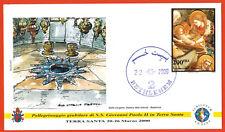 2000-Fdc 1°jour-Vatican-Voyage du Pape-Jean-Paul II-Béthléem-Timbre-Palestine