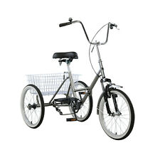 """20"""" Adult 3 Wheeler Bicycle Folding Tricycle Bike Portable Tricycle Wheels Grey"""