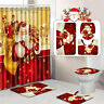 US Merry Christmas Shower Curtain Bathroom Anti-slip Rug Toilet Cover Mat Set