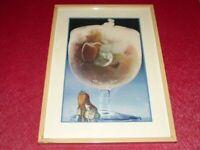 ART XXe  COLLAGE ORIGINAL POETIQUE FANTASTIQUE Ca 1970 Cadre 40 x 29 cm Fillette