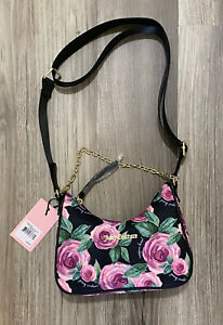 Juicy Couture Moody Gardens Black Chains In Love Crossbody NWT $79.00 Pink Roses