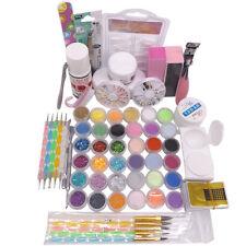36 Acrylic Powder Liquid Clipper Primer Glitter Nail Art Tip Brush UV Kits