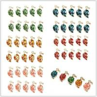 Wholesale 10 PCs Alloy Leaf Leaves Enamel Charms For Pendants DIY Jewelry Crafts