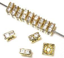 20 Swarovski Squaredelles Beads Spacers 6x6mm Gold / Crystal SQ602